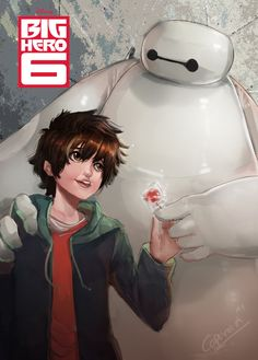 Baymax with Hiro  i draw this after i see the movie :) and so cool this movie so awesome