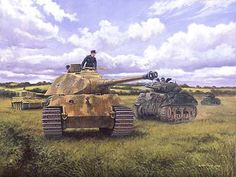 Prepare to Ram, Operation Goodwood, Normandy, 18th July 1944 by David Pentland Tiger Ii, Dirigible Steampunk, Tiger Tank, Model Tanks, Armored Fighting Vehicle, Military Modelling, Ww2 Tanks, World Of Tanks, German Army