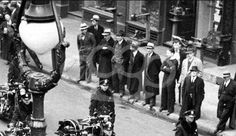 """among the spectators watching a parade of the NYPD motorcycles outside police headquarters in Little Italy, a department photographer inadvertently captured New York City's bootlegging mobsters, 4th from left wearing the dark fedora,  Benjamin """"Bugsy"""" Seigel, next to him Meyer Lansky, Vincent """"Jimmy Blue Eyes"""" Alo and his close friend Eddie McGrath"""