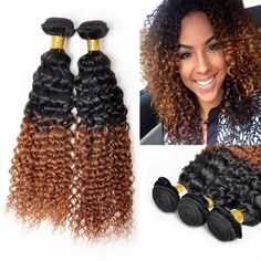 Luxury Kinky Curly Indian Ombre Hair Weaves,1B-30 Two Tone Ombre Deep Curly Human Hair Weft Extensions #DHgatePin