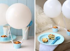 hot air balloon cupcakes, could also fill cupcake liners with cookies/candy Balloon Cupcakes, Hot Air Balloon Cake, Cupcake Cakes, Cup Cakes, Fairy Bread, Filled Cupcakes, Beautiful Baby Shower, Fun Desserts, Dessert Ideas