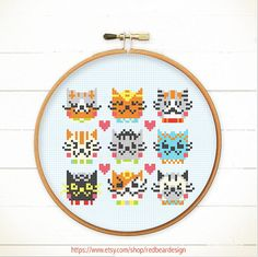 Modern Funny Cute Cross stitch pattern PDF - I Love Catsss  - Xstitch Instant download - Happy cat , Cheerful kitten, Cute Woodland Animal