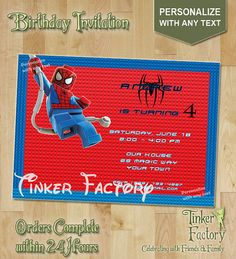 Lego Spiderman Birthday Party Invitation by TinkerFactory on Etsy