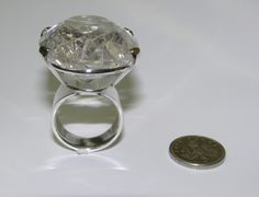 Very large rutalated quartz ring in silver for robin hood film