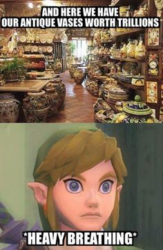 Zelda: Hey Link! How about we buy some of these pots? They look beautiful! Link? LINK!? What are you doing!?