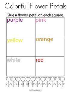 Colorful Flower Petals Coloring Page - Twisty Noodle