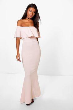 Myleene Bandeau Frill Fish Tail Maxi Dress