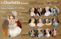 Fashion Timeline: Women's Headdresses: Charlotte bonnet, most popular in 19th century, usually worn by married women at home, sometimes outside under a hat. Made of lawn or muslin, decorated with ribbons & bows, tied under the chin. Volume achieved w/ ruffles & bows, usually unstarched.