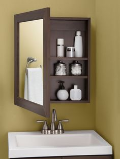 diy bathroom remodel ideasiscertainly important for your home. Whether you pick the diy bathroom remodel ideas or bathroom remodeling ideas, you will create the best bathroom demolition for your own life. Bathroom Mirror Cabinet, Mirror Cabinets, Bathroom Shelves, Bathroom Vanities, Bathroom Cabinets, Bathroom Organization, Kitchen Cabinets, Medicine Cabinets, Ikea Bathroom