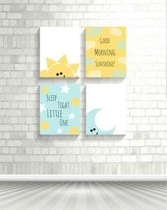 Baby Nursery Prints Decor Set, Art and Collectibles, Prints, Set of 4 Prints, Sun and Moon Wall Prints, Baby Shower Gift, Digital Prints