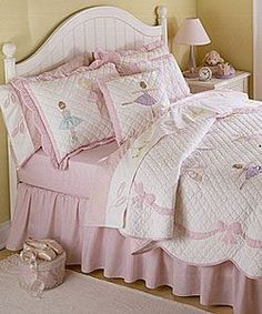 For  my Girls room          @Overstock - Create a fun and stylish look for your daughters room with this pink/white ballet inspired quilt set. This soft and cozy quilt features a scene of a young girl in ballet class. Sold with the matching sham, the set is available in various sizes.http://www.overstock.com/Bedding-Bath/Ballet-Lessons-Quilt-Set/3731100/product.html?CID=214117 $89.99