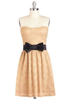 Center Beige Dress - Black, Bows, Lace, A-line, Strapless, Mid-length, Tan, Party, Sweetheart $44.99