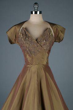 ~Vintage 1950s Bronze Emma Domb Beaded Dress with Bolero~ jαɢlαdy