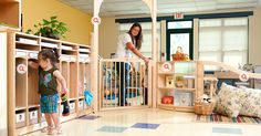 The welcome area is an important transition space as children move from home to school. Flexible cubbies allow for program to meet the needs of all their children and parents. Daycare Spaces, Home Daycare, Daycare Cubbies, Daycare Ideas, Daycare Setup, Daycare Design, Kid Spaces, School Design, Classroom Layout