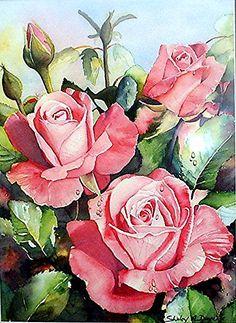 최순자's media content and analytics – Flowers Flowers Watercolor Rose, Watercolor Drawing, Plant Drawing, Botanical Illustration, Botanical Prints, Vintage Flowers, Flower Art, Beautiful Flowers, Art Drawings