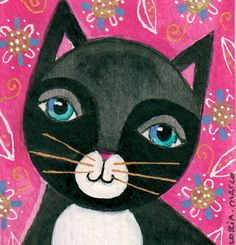 Original Aceo Mixed media Painting: Tuxedo cat in the garden