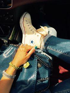 Converse & Falabella bag www.glitterchampagne.com