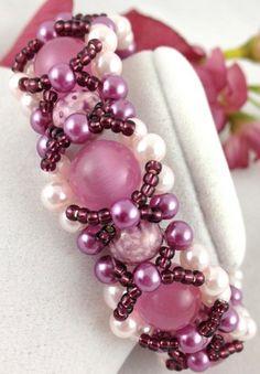 Raspberry Sherbet Cats eye Handmade beaded bangle bracelet Reversible | jazzitupwithdesignsbynancy - Jewelry on ArtFire #ckdin
