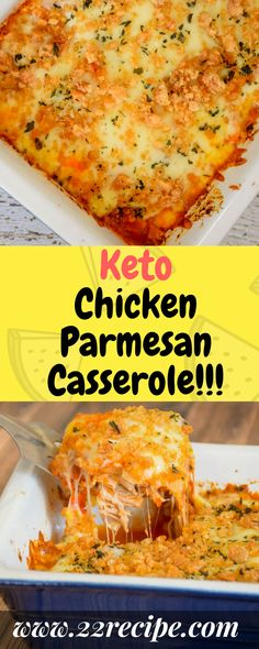 This Keto Chicken Parmesan Casserole is a super easy dinner recipe that's burs. This Keto Chicken Ketogenic Recipes, Low Carb Recipes, Diet Recipes, Cooking Recipes, Healthy Recipes, Recipies, Ketogenic Diet, Keto Recipes Dinner Easy, Pureed Recipes