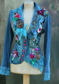 Rococo denim jacket  bohemian romantic altered couture