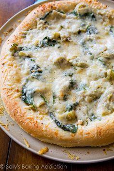 Spinach Artichoke White Cheese Pizza.
