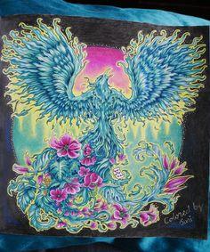 "134 tykkäystä, 11 kommenttia - Sari Hankaniemi (@sari_kani_) Instagramissa: ""My Phoenix from Mythomorphia by @kerbyrosanes #phoenix #mythomorphia #adultcoloringbook…"""