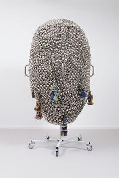 HAEGUE YANG Sonic Dance – Arrayed, 2015 Steel stand, powder coating , nickel plated bells, copper plated bells, brass plated bells, metal rings, casters, jute twine 75 3/5 × 39 4/5 × 40 1/5 in