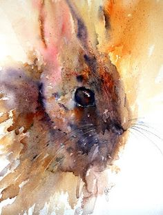 """ Rabbit  created using Derwent Watercolour pencils on top of my usual watercolour techniques"" Jean Haines"