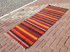 "Stripped Kilim runner, 83""  x 33"", Vintage Turkish kilim runner rug, runner rug, bohemian runner rug, Turkish rug, rug, boho runner rug"