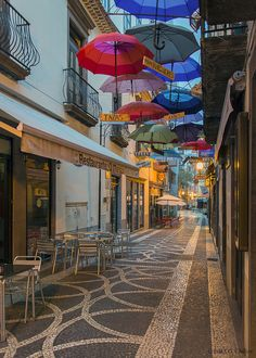 Funchal street and umbrellas,  Madeira, Portugal  Explore April 18 2015