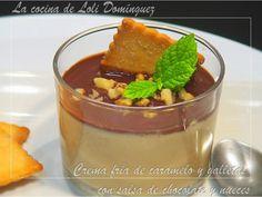 Crema fría de caramelo y galletas con salsa de chocolate y nueces, Receta para - Petitchef