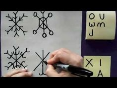 Mini Matisse-how to draw snowflakes using letters from the alphabet