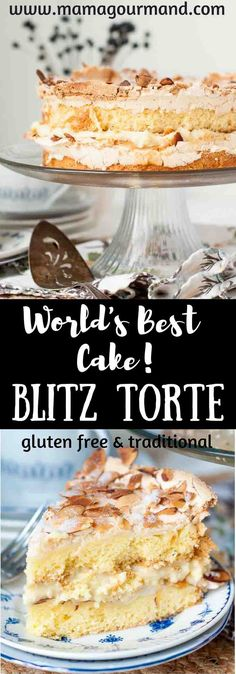 World's Best Blitz Torte is an explosion of textures and tastes with a crunchy, crackling top, chewy dense cake and a creamy, custard vanilla filling. http://www.mamagourmand.com via @mamagourmand