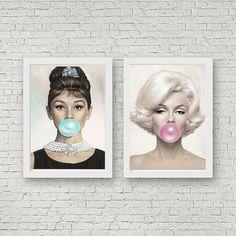 $44-$66 Audrey Hepburn Marilyn Monroe Bubblegum Print Home Decor Fashion Wall Art set