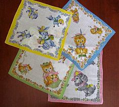 Set of Four Hankies with Adorable Animals for Children