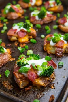 Loaded smashed potatoes.