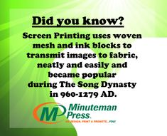 Screen printing is usually done on cotton, this material holds the ink best and is durable for working.