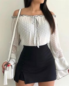 Shop Blouses & Shirts Off Shoulder Bell Sleeve Casual Blouse Womens Fashion Online, Latest Fashion For Women, Summer Outfits, Casual Outfits, Women's Casual, Casual Styles, Casual Shirt, Blouse Models, Trendy Swimwear