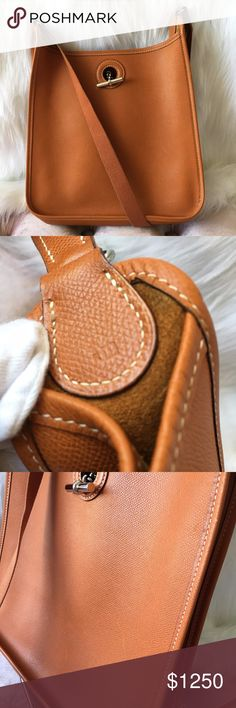 """HERMES PM Shoulder Bag Couchevel Leather Pre-owned Est Retail: $2850 Date code: I (2005) Approx size: H: 11"""", L: 10.9"""", D: 3"""" Strap drop: 19.5"""" Closure: Mantel Interior: 1 slip pocket Includes dust bag Condition: BBB (refer to last picture for description) In excellent condition. Noticeable trace of use. Exterior has unnoticeable marks on the leather, some wear on the hardware and mark on the inner strap. Interior is in good condition with small marks. (refer to pictures) Hermes Bags…"""