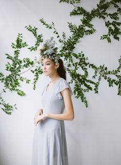 Minimalist modern bride inspiration featuring blue dress and floral accents. #modernbrides #minimalistbridedress #uniqueminimalistbride