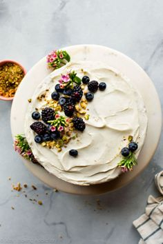 Pistachio cake from scratch with real pistachio and almond extract flavors! Nothing fake or artificial in this beautiful 3 layer pistachio cake. This rustic chic naked cake is adorned with silky cream cheese frosting! Recipe on sallysbakingaddic. Brownie Desserts, Oreo Dessert, Mini Desserts, Just Desserts, Delicious Desserts, Dessert Recipes, Yummy Food, Dessert Ideas, Cake Ideas