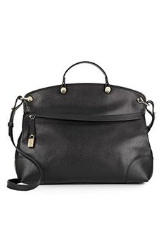 Furla Nicole Piper Large Saffiano Leather Tote Handbag, Black