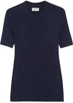 Shop Now - >  https://api.shopstyle.com/action/apiVisitRetailer?id=540862226&pid=uid6996-25233114-59 FRAME - Classic Ribbed Silk And Cashmere-blend Top - Navy  ...