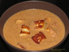 Mughlai Paneer is Paneer in a Rich Tomato-Onion Gravy. This recipe is very special to me because it is the very first one that I tried from the first cookbook I bought from my first earnings. :-)