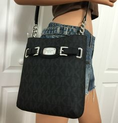 Michael Kors MK Signature Hamilton Black Large PVC Shoulder Crossbody Purse Bag #MichaelKors #ShoulderBag