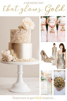 A wedding day that glows GOLD! We just love all these beautiful gold details - wedding insp, gold weddings Metallic Bridesmaid Dresses, Gold Bridesmaid Dresses, Rose Gold Theme, Gold Wedding Theme, Dream Wedding, Wedding Planning Inspiration, Wedding Ideas, Wedding Venues, Gold Wedding Centerpieces