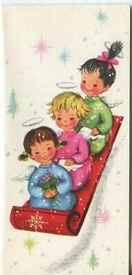 Vintage Christmas Card UNUSED MCM Couple Wave From Front Dutch Door Man Lady