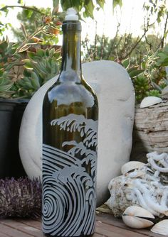 Wave & Ocean Design is carved / sandblasted onto empty wine bottles and transformed either into oil lamps or olive oil dispensers. Empty Wine Bottles, Painted Wine Bottles, Glass Bottles, Wine Bottle Crafts, Bottle Art, My Glass, Glass Art, Engraved Glassware, Olive Oil Dispenser