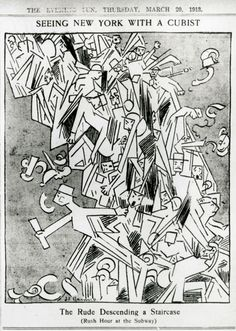 """F. Griswold, """"The Rude Descending a Staircase (Rush Hour at the Subway),"""" New York Evening Sun, March 20, 1913. General Research Division, The New York Public Library, Astor, Lenox and Tilden Foundations"""