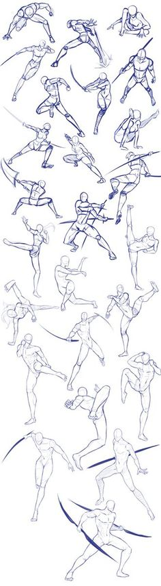 Battle/action poses by Antarija on DeviantArt - Body positions, weapons, fighting, swords; How to Draw Manga/Anime - Drawing Body Poses, Gesture Drawing, Drawing Reference Poses, Anatomy Drawing, Manga Drawing, Drawing Sketches, Drawing Tips, Drawing Ideas, Sketching